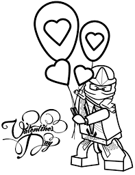 Ninjago Lloyd Zx Holding Valentines Day Balloons Coloring Page