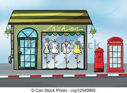 A Fashion Store And Callbox Vector