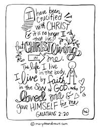 I Have Been Crucified With Christ Galatians 220 Printable Bible Verse Coloring Page