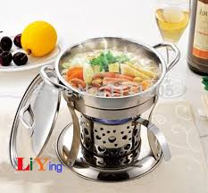 Stainless Steel Hotpot Set Chafing Dish Lid Holder Liquid Alcohol Stove Heater Mini 18cm Cooker Buffet