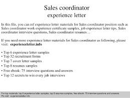 Sales Coordinator Experience Letter