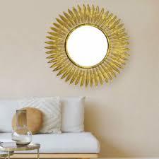 details zu vintage wand bild spiegel wohn zimmer barock stil glas objekt sonne gold