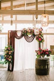 If We Add Burgundy Blush Or Gray Draping To The Arch And A Corner Rustic Wedding