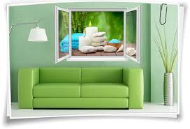 wandtattoo wandbild fenster spa wellness kerzen steine wohnzimmer deko