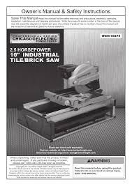 harbor freight tile saw manual chicago electric 10 industrial tile brick saw 69275 user manual