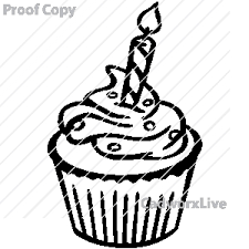 birthday cupcake line clipart