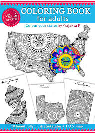 Adult Coloring Book USA Travel Map For Adults United States