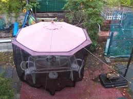 Patio Umbrella With Netting by Umbrella Mosquito Screen Installation Youtube
