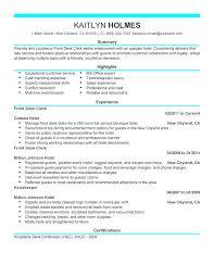 Resume Samples Receptionist Front Desk Clerk Sample Hotel Job