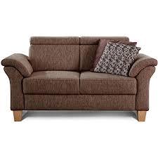 cavadore 2 sitzer sofa ammerland mit federkern im landhausstil inkl verstellbaren kopfstützen 156 x 84 x 93 strukturstoff braun