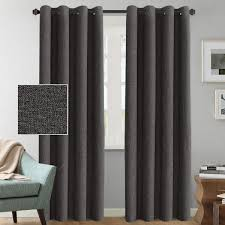 HVERSAILTEX Linen Curtains Blackout 84 Inches Long Thermal Insulated Energy Saving Textured Linen Curtain Panels For Bedroom Grommet Linen Curtain
