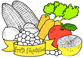 Fruits and ve ables clipart black and white
