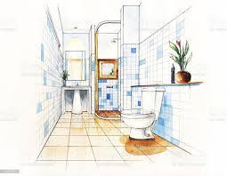 badezimmer verschönert zeichnen design stock vektor und mehr bilder aquarell