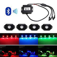 4 - CREE RGB LED Rock Light Kits Neon Lights Bluetooth Control ...