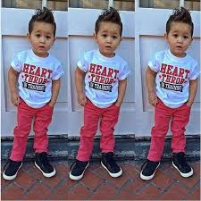 Fashion Summer Toddler Boy Short Sleeve Print T Shirt White Jeans Red Children Clothing Set Kids Clothes Boys Outfit DY118B In Sets From Mother