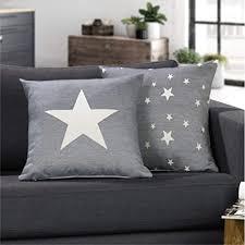 lileno home 1er set kissenbezug in blau 45x45 cm toller deko kissen bezug als sofakissen ins wohnzimmer sterne kissenhüllen für