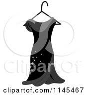 Clipart A Black Dress With Sparkles A Hanger Royalty Free Vector Illustration