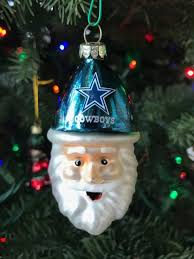 NFL Dallas Cowboys Blown Glass Santa Ornament FREE SHIPPING