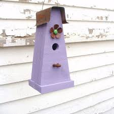 Rustic Decorative Birdhouse Wooden Bird House Cottage Functional Lavender