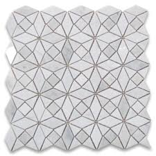 carrara white kaleidoscope pattern mix mosaic tile