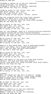 Going To The Zoo by Tom Paxton lyrics and chords