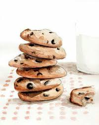 Chocolate chip cookies & milk by Tracy Hetzel Long Blue Straw