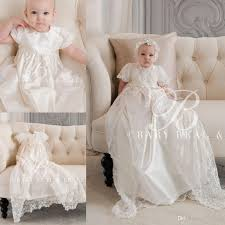 2017 lovely lace christening gowns with short sleeves for baby