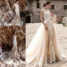 Hatail Bridal Applique Lace Mermaid Wedding Dress Sleeveless For Bride 2017