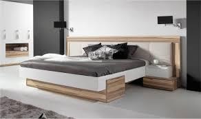 chambre design pas cher lit bois design adulte 2 places avec tête de lit large capitonnée