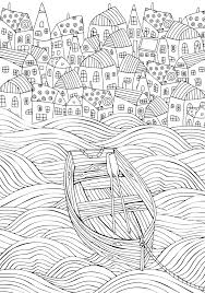 Seaside Homes Boat Sea Background Zentangle Style For Adult Coloring Book