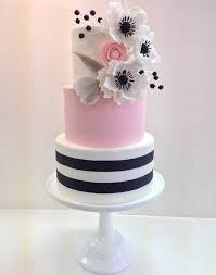 Pink Black and White Striped Wedding Cake with Sugar Flowers