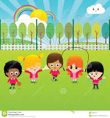 Group Happy School Children Playing Outside 30302710 Clip Art