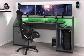 gamer tisch pc schreibtisch inkl led beleuchtung set up parisot grau schwarz