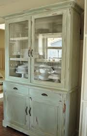 Kitchen Design Beautiful Wooden Hutch Featuring Bottom Double Door Compartment And Upper Glass Front