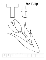 Tulip Alphabet Coloring Page Flower