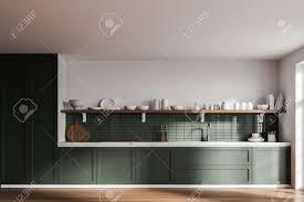 Modern White Kitchen Interior 3d Rendering Stockfoto Und Interior Of Modern Kitchen With White And Green Walls Wooden