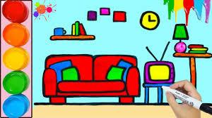 zeichnen und färben wohnzimmer für kinder künstlerische farben für kinder lernvideo für kinder