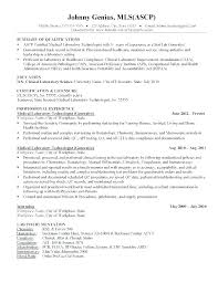 Resume Examples For Medical Laboratory Technician Sample Lab Technologist Entry L