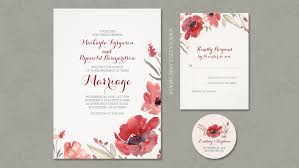 Floral Wedding Invitation With Burgundy Watercolor Flowers
