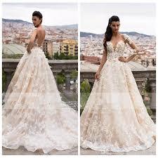 2018 Formal Milla Nova Bridal A Line Scoop Wedding Dresses Illusion Long Sleeve 3D Floral Appliques Chapel Train Garden Gowns