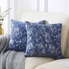 ommato samt kissenbezug 50x50 cm silber gold kissenbezüge dekorative kissenhülle dekokissen für sofa schlafzimmer wohnzimmer navy blau 2 stück