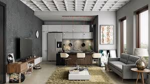 100 Trump World Tower Penthouse Modern Apartment Living Room And Kitchen Design Featuring Cool Dark