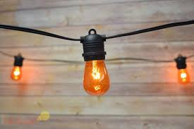 24 socket outdoor commercial string light set s14 orange colored