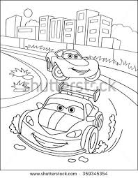 Cute Sport Cars In City Coloring Page Illustration Book Outdoor Theme