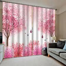 großhandel 3d vorhänge wohnzimmer schlafzimmer vorhänge cortinas customized größe rosa vorhang wald vorhang für mädchen zimmer aozhouqie 50 55