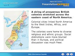 A String Of Prosperous British Colonies Stretched Across The Eastern Coast North America