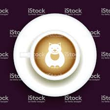 Kitty Coffee Latte Art Animal Top View Shape Foam Of A Cappuccino Cup With