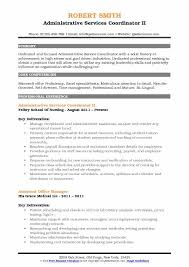 Administrative Services Coordinator II Resume Example