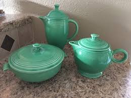 Vintage Fiestaware Light Green Coffee Pot Covered Casserole Tea