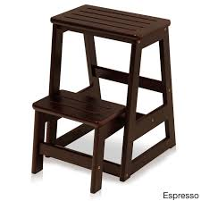 Solid Wood Folding Step Stool (Cappuccino), Brown | Products ...